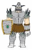 Horned Knight Full Armor — Stock Vector