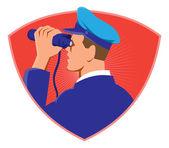 Navy Captain Looking Binoculars — Stock Vector