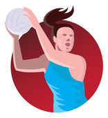 Netball Player Passing Ball — Stock Vector