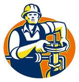 Pipefitter Oil Worker Tighten — Stock Vector
