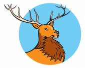 Red Stag Deer Head Circle — Stock Vector