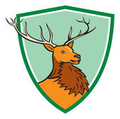 Red Stag Deer Head Shield — Stock Vector