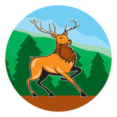 Red Stag Deer in Circle — Stock Vector