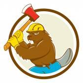 Beaver Lumberjack Wielding Ax — Stock Vector