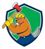 Beaver Lumberjack Wielding Ax Shield — Stock Vector