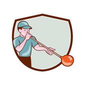 Glassblower Glassblowing Cartoon Shield — Stock Vector