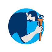 Plumber Bowing Holding Monkey Wrench Circle Retro — Stock Vector