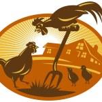 Rooster cockerel crowing — Stock Vector #67889197