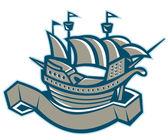 Sailing ship galleon — Stock Vector