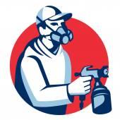 Painter spraying from spray gun — Stock Vector