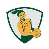 Netball player holding ball — Stock Vector