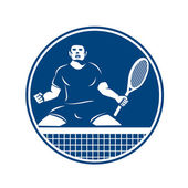 Tennis player holding racquet — Stock Vector