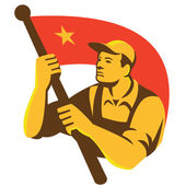 Chinese Communist worker with flag — Stock Vector