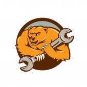 Niedźwiedź hydraulik trzymając klucz oczkowy — Wektor stockowy