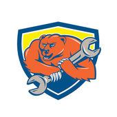 Bear plumber holding spanner — Vecteur