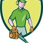 Gardener Landscaper Leaf Blower Crest Cartoon — Stock Vector #69664149
