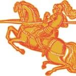 Knight Full Armor Horseback Lance Etching — Stock Vector #69664551