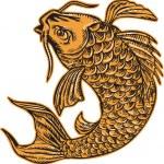 Koi Nishikigoi Carp Fish Jumping Etching — Stock Vector #69664747