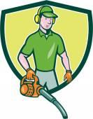 Gardener Landscaper Leaf Blower Crest Cartoon — Stock Vector