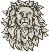 Angry Lion Big Cat Head Etching — Vecteur