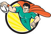 Superhero Rugby Player Scoring Try Circle — Stock Vector