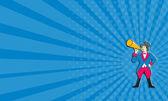 Business card Circus Ringmaster Bullhorn Standing Cartoon — Stock Photo