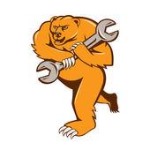 Bear plumber holding spanner — Wektor stockowy