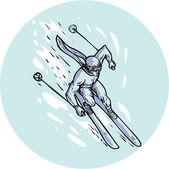 Skiing Slalom Circle Etching — Stock Vector