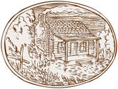 Log Cabin Farm House Oval Etching — Stock Vector