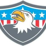 American Bald Eagle Head Flag Shield Cartoon — Stock Vector #70019245
