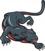Black Panther Crouching Cartoon — Stock Vector