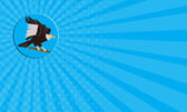 Business card California Condor Perching Branch Circle Retro — Stock Photo