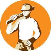 Builder Construction Worker Spirit Level Toolbelt Stencil — Stock Vector