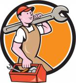 Mechanic Carrying Spanner Toolbox Circle Cartoon — Stock Vector