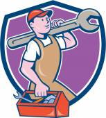 Mechanic Carrying Spanner Toolbox Crest Cartoon — Stock Vector
