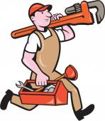 Plumber Carrying Monkey Wrench Toolbox Running — Stock Vector