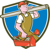 Plumber Carrying Pipe Toolbox Crest Cartoon — Stock Vector