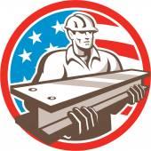 Worker I-Beam USA Flag Circle — Stock Vector