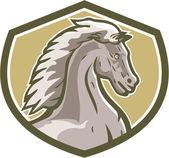 Colt Horse Head Side Shield Retro — Stock Vector