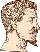 Male Goatee Side View Etching — Stock Vector