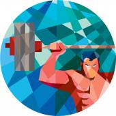 Weightlifter Snatch Grab Lifting Barbell Low Polygon — Stock Vector