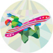 Snowboarder Snowboard Jumping Low Polygon — Stock Vector #71560859