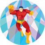 Superhero Running Punching Low Polygon — Stock Vector #71560865