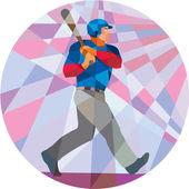 Baseball Batter Hitter Batting Low Polygon — Stock Vector