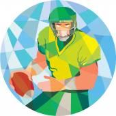 American Football Quarterback Passing Low Polygon — Stock Vector