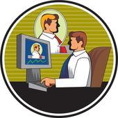Businessman Video Conference Retro — Stock Vector