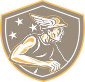 Mercury Looking Side Shield Retro — Stock Vector