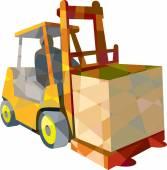 Forklift Truck Materials Handling Box Low Polygon — Stock Vector