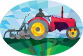 Farmer Driving Vintage Farm Tractor Oval Low Polygon — Stock vektor