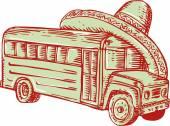 Sombrero School Bus Etching — Stock Vector